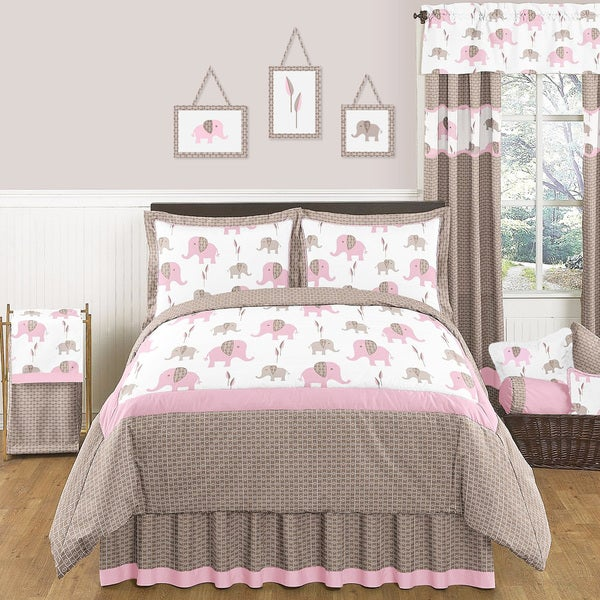 Sweet JoJo Designs Pink Mod Elephant 3-piece Full / Queen-size Bedding Set