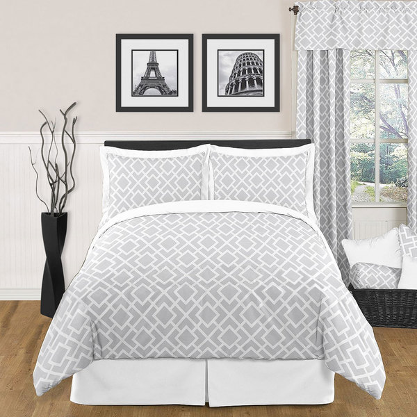 Sweet JoJo Designs Grey and White Diamond 3-piece King-size Bedding Set