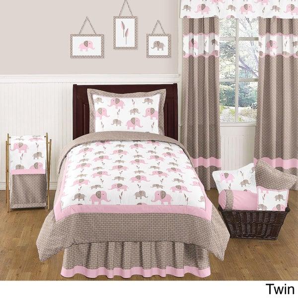 Sweet JoJo Designs Pink Mod Elephant Bedding Set