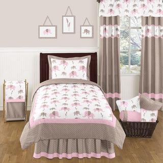 Sweet JoJo Designs Pink Mod Elephant Bedding Set