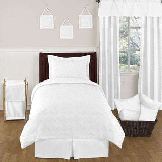 Sweet JoJo Designs White Diamond 4-piece Twin-size Bedding Set