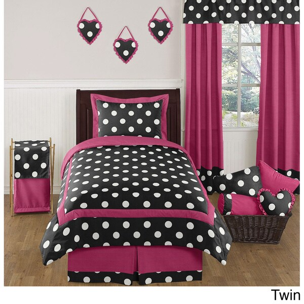 Sweet JoJo Designs Pink and Black Hot Dot Bedding Set