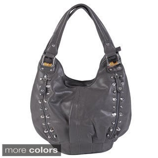 Journee Collection Women's Double Handle Studded Faux Leather Satchel