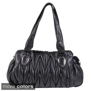 Journee Collection Women's Faux Leather Double Handle Ruched Satchel