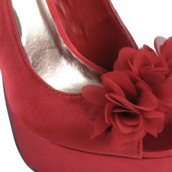 Journee Collection Women's 'Baby-39' Ruffled Flower Peep Toe Stilettos