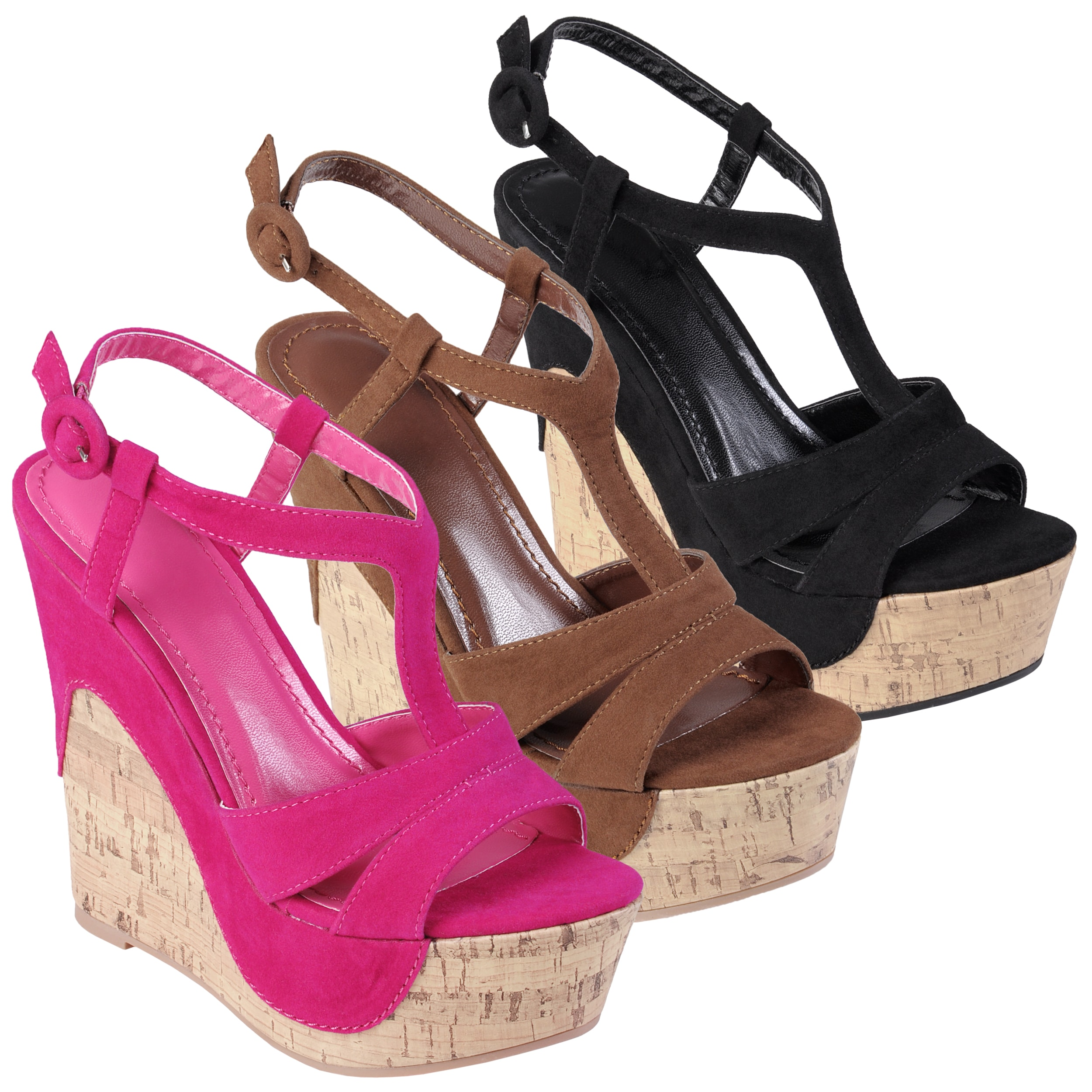 Hailey Jeans Co Women's 'PAXTON-12' Peep Toe T-Strap Wedges