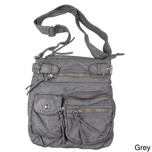 Journee Collection Women's Multi-pocket Faux Leather Cross-body Bag
