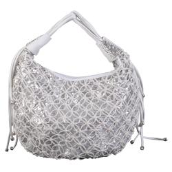 Journee Collection Women's Sequined Basketweave Zippered Satchel