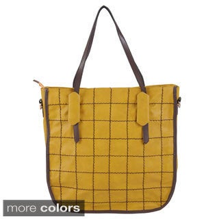 Journee Collection Women's Topstitched Windowpane Double Handle Tote
