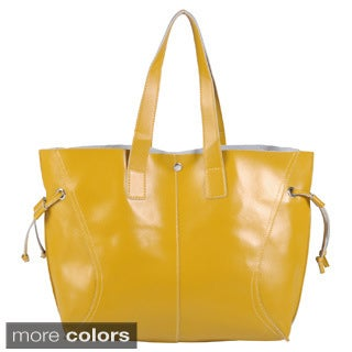 Journee Collection Women's Double Handle Faux Leather Tote Bag