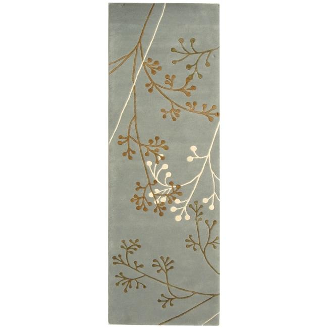 Safavieh Handmade Soho Vine Light Blue New Zealand Wool Runner (2'6 x 10')