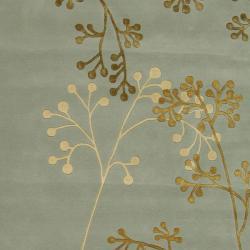 Handmade Soho Vine Light Blue New Zealand Wool Rug (9'6 x 13'6)