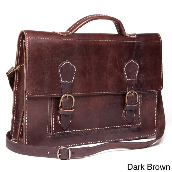 Handmade Leather Laptop Bag / Briefcase (Morocco)
