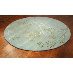 Handmade Soho Vine Light Blue New Zealand Wool Rug (6' Round)