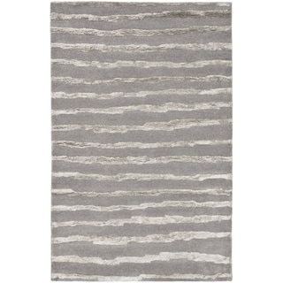 Handmade Soho Stripes Grey New Zealand Wool Rug (6' x 9')