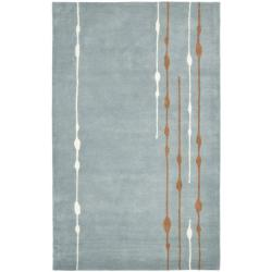 Handmade Soho Rain Blue New Zealand Wool Rug (6' x 9')