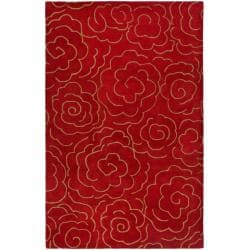 Handmade Soho Roses Red New Zealand Wool Rug (9' x 12')