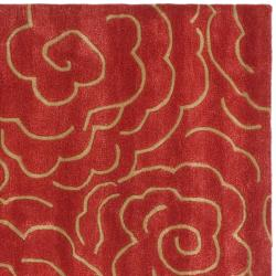 Handmade Soho Roses Red New Zealand Wool Rug (8' Square)