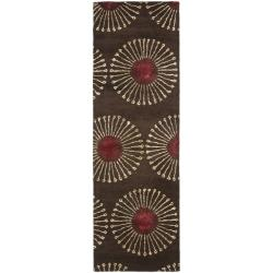 Handmade Soho Zen Coffee/ Brown New Zealand Wool Runner (2'6 x 12')