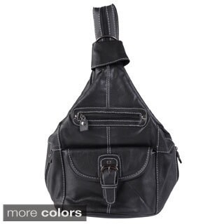 Journee Collection Women's Leather Convertible Backpack Shoulder Bag
