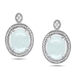 Miadora Sterling Silver 5ct TGW Aquamarine and Diamond Accent Earrings