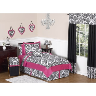 Sweet JoJo Designs Hot Pink, Black and White Isabella 4-piece Twin-size Bedding Set
