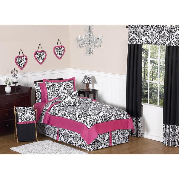 Sweet JoJo Designs Hot Pink, Black and White Isabella 4-piece Twin-size Bedding Set