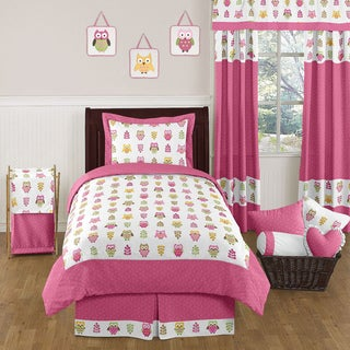 Sweet JoJo Designs Pink Happy Owl 4-piece Twin-size Bedding Set