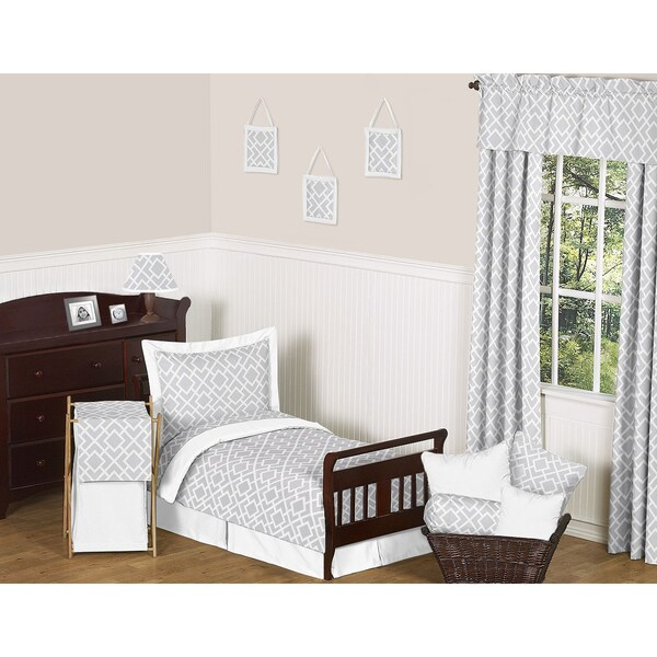 Sweet JoJo Designs Diamond Grey and White 5-piece Toddler Bedding Set
