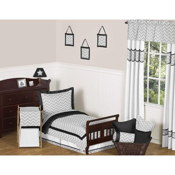 Sweet JoJo Designs Grey and Black Zig Zag 5-piece Toddler Bedding Set