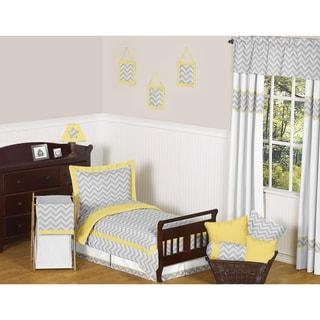 Sweet JoJo Designs Grey and Yellow Zig Zag 5-piece Toddler Bedding Set
