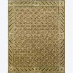 Hand-Knotted Tan/Green Mandara New Zealand Wool Rug (8' x 10')