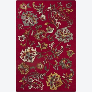Hand-tufted Mandara Red Floral Wool Rug(5' x 7'6)