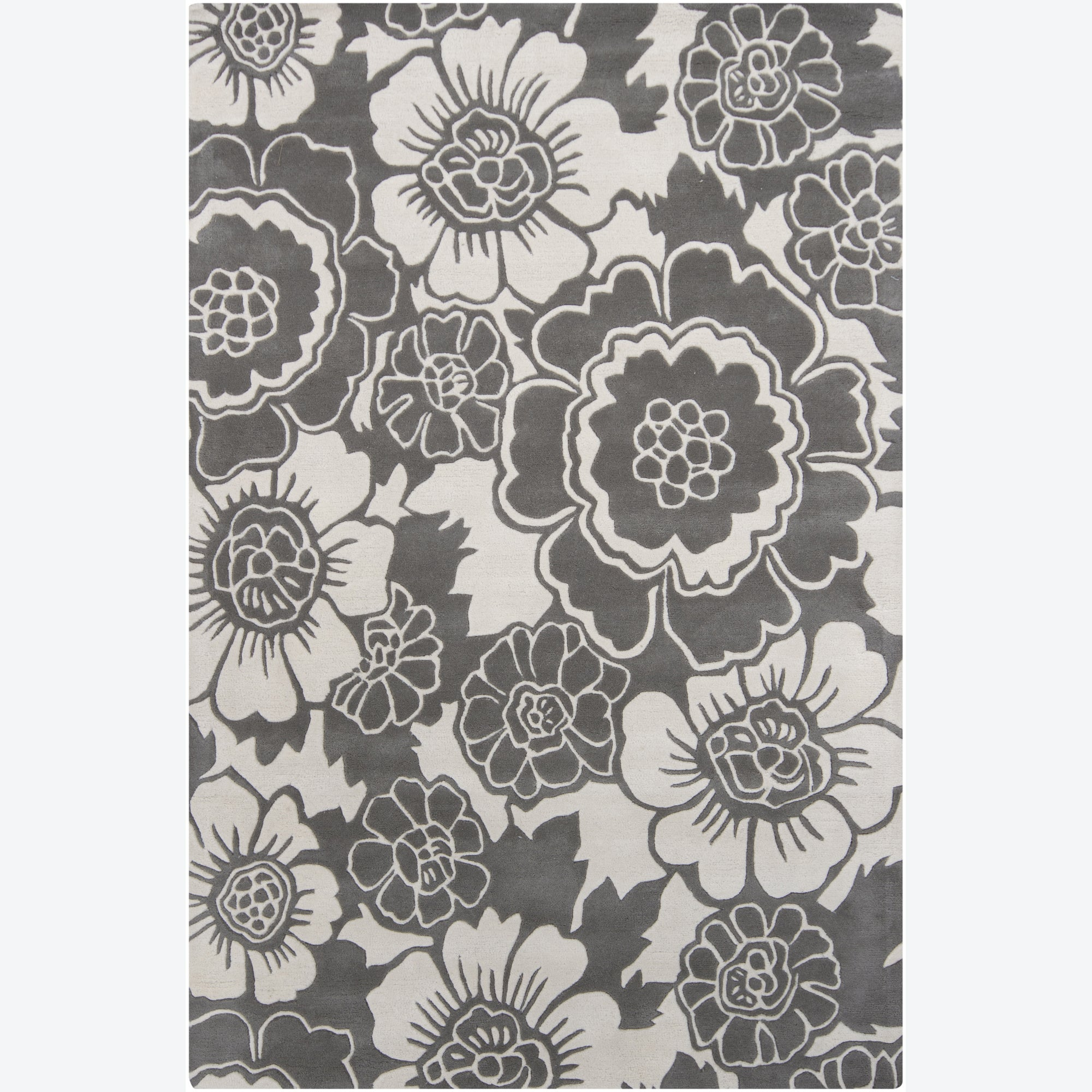 """Hand-Tufted Contemporary Mandara Floral Gray Wool Rug (5' x 7'6"""")"""