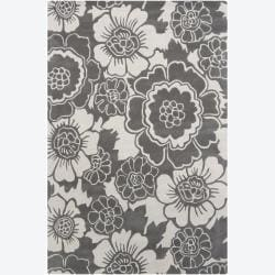 Hand-Tufted Mandara Floral Grey Contemporary Wool Rug (7'9 x 10'6)
