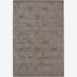 Hand-tufted Mandara Geometric Grey Wool Rug (5' x 7'6)