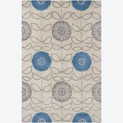 Hand-tufted Mandara Floral Beige Wool Rug (7'9 x 10'6)