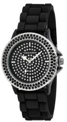 Vernier Women's V11071BK Black Silicone Sparkle Watch