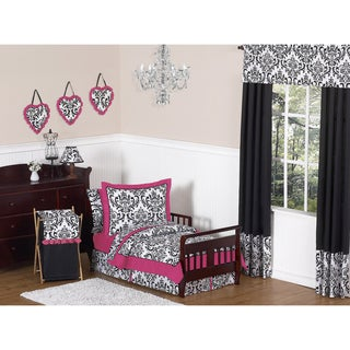 Sweet JoJo Designs Isabella Hot Pink, Black and White 5-piece Toddler Bedding Set