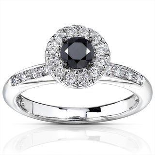 Annello 14k Gold 3/5ct TDW Black and White Diamond Ring (H-I, I1-I2)