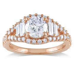 Miadora 14k Pink Gold 1 5/8ct TDW Diamond Engagement Ring (G-H, SI2)