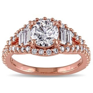 14k Rose Gold 1 5/8ct TDW Round and Baguette Diamond Ring (G-H, SI2)