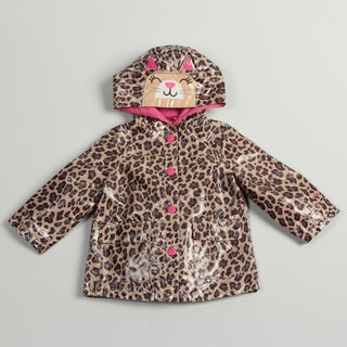 Carter's Girl's Leopard Printed Cat-face Hood Rain Coat