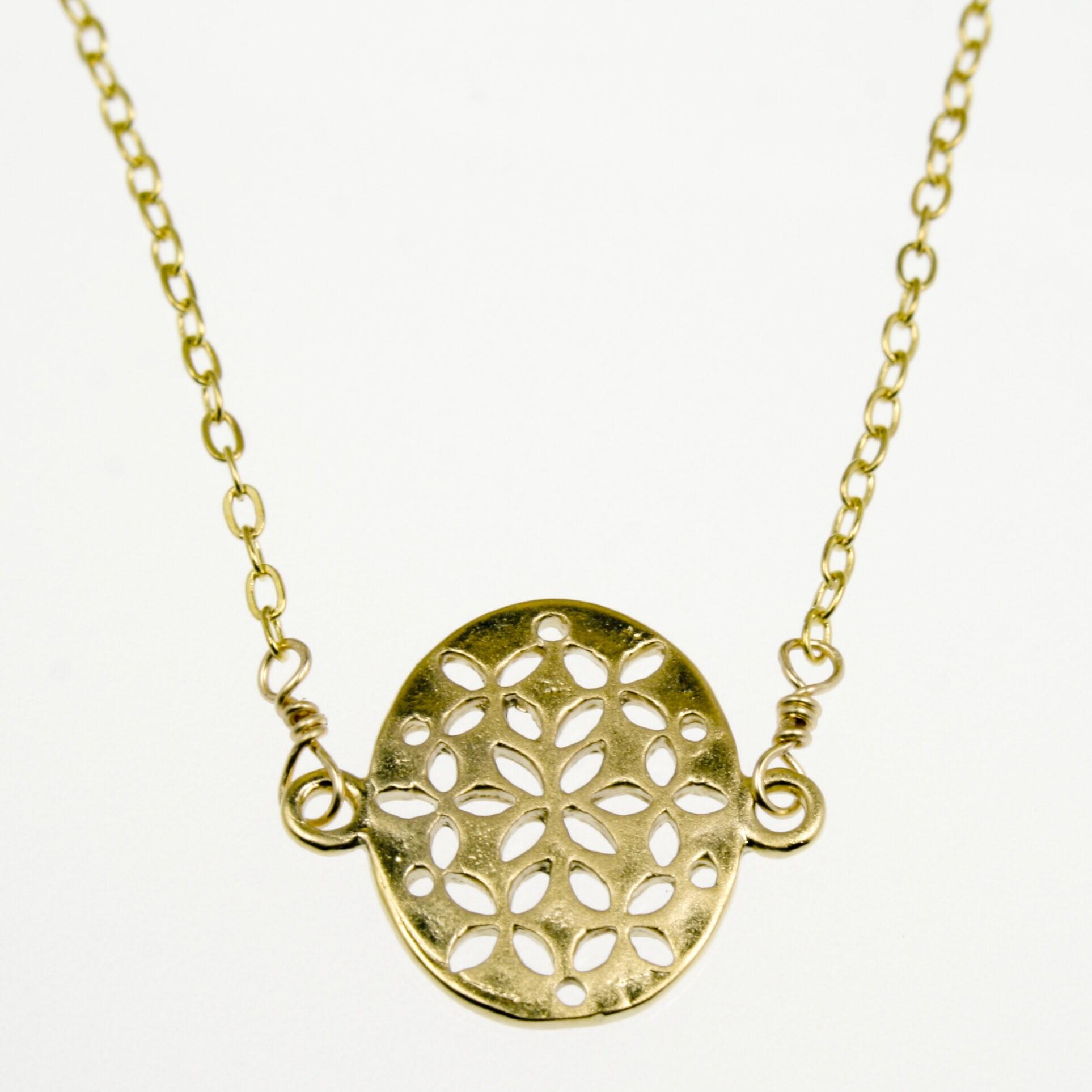 Flat Oval Filigree Pendant Necklace