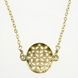 Flat Oval Filigree Pendant Necklace