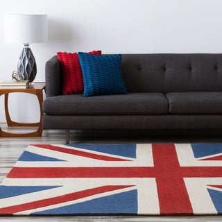 Hand-tufted Contemporary Union Jack Red Cosmic Abstract Area Rug - 8' Round/Surplus