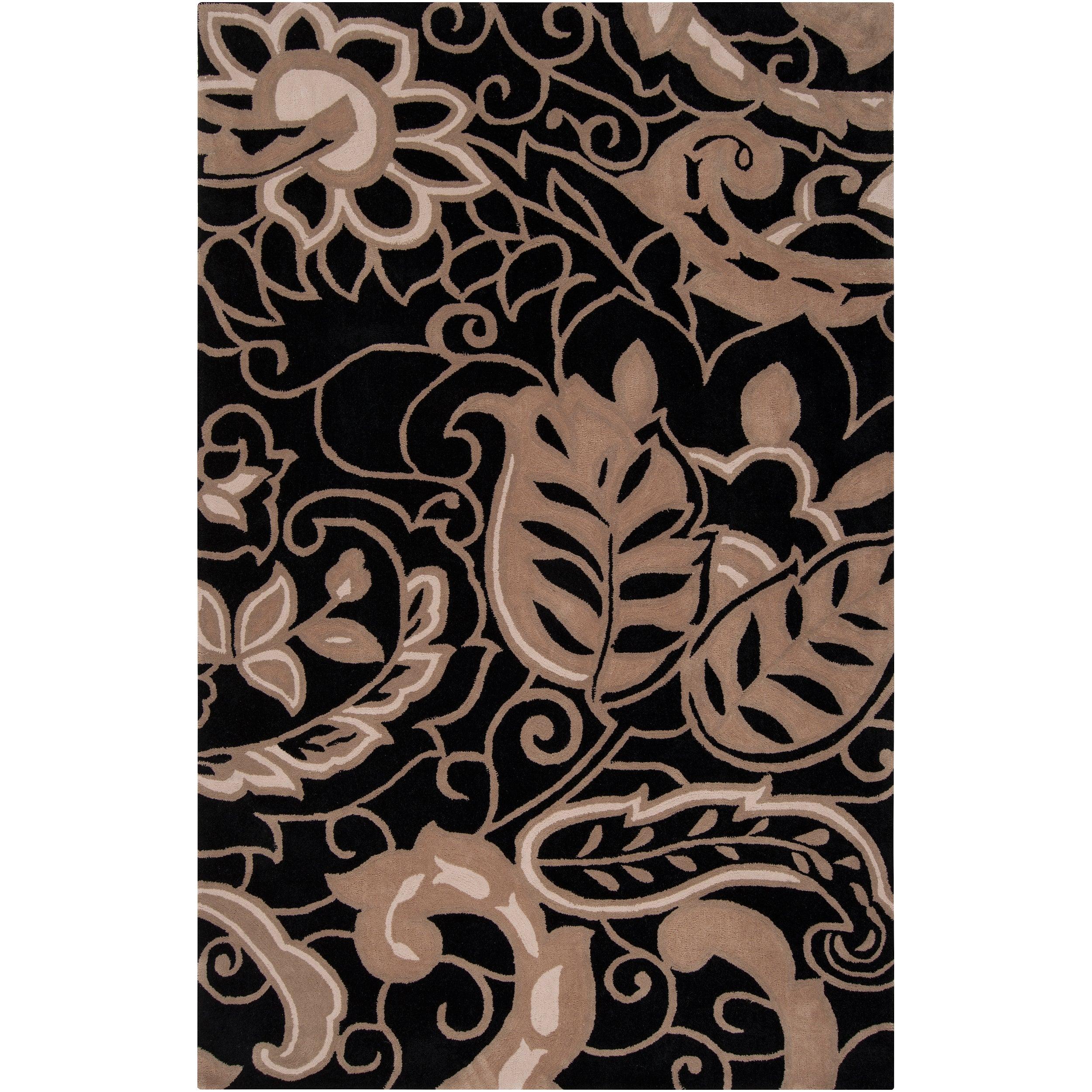 angelo:HOME Hand-tufted Black Hudson Park Polyester Rug (5' x 7'6)