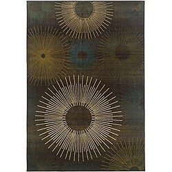 Sydney Brown/ Blue Contemporary Area Rug (4' x 5'9)