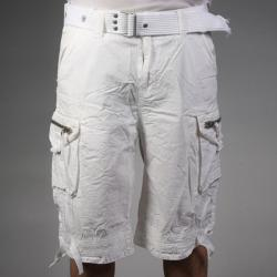 Laguna Beach Jean Company Men's Hermosa Beach White Belted Cargo Shorts