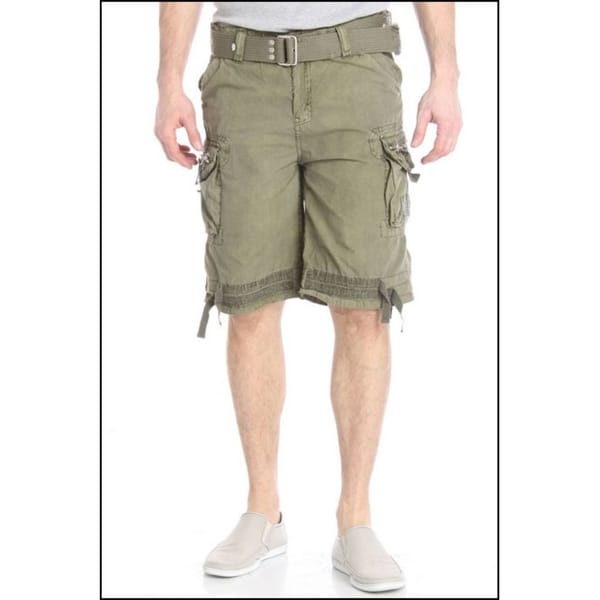 Laguna Beach Jean Company Men's Hermosa Beach Olive Belted Cargo Shorts